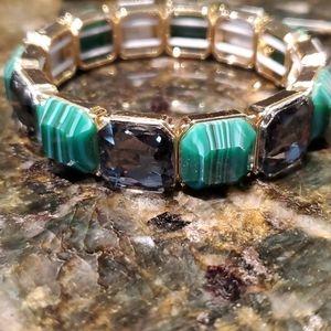 💝 Green and black rhinestone stretch bracelet